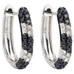 Black and White Diamond 18 Karat Gold Huggie Hoop Earrings