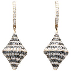 Black and White Diamond and 18 Karat Rose Gold Hanging Earrings