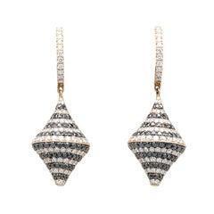 Black and White Diamond and 18 Karat Rose Gold Hanging Earrings