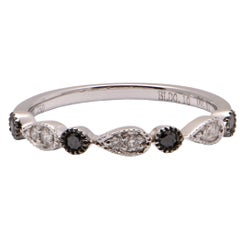 Black and White Diamond Band in 18 Carat White Gold