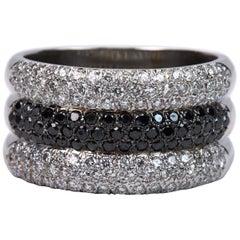 Black and White Diamond Band Ring