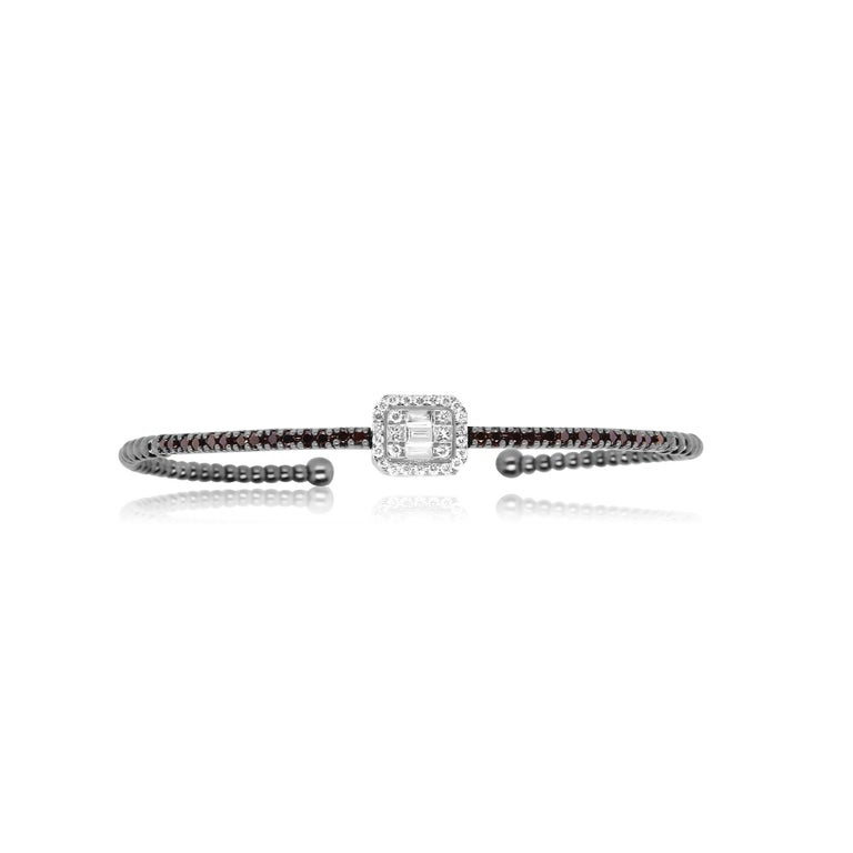 Contemporary Round Black and White Baguette Diamond Halo Cluster Bangle Bracelet 18K Gold For Sale