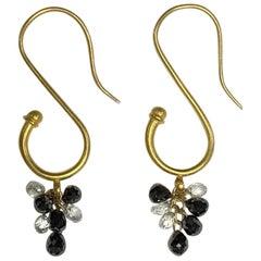"Black and White Diamond Briolette ""S"" Hook Earrings 22 Karat Gold A2 by Arunashi"
