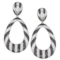 Black and White Diamond Drop Earrings
