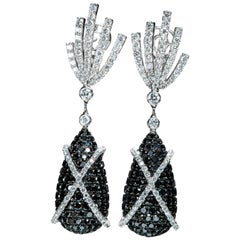 Black Diamond and Diamond Earrings