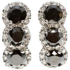 Black and White Diamond Earrings in 18 Karat White Gold