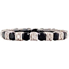 Black and White Diamond Eternity Band Ring 14 Karat White Gold