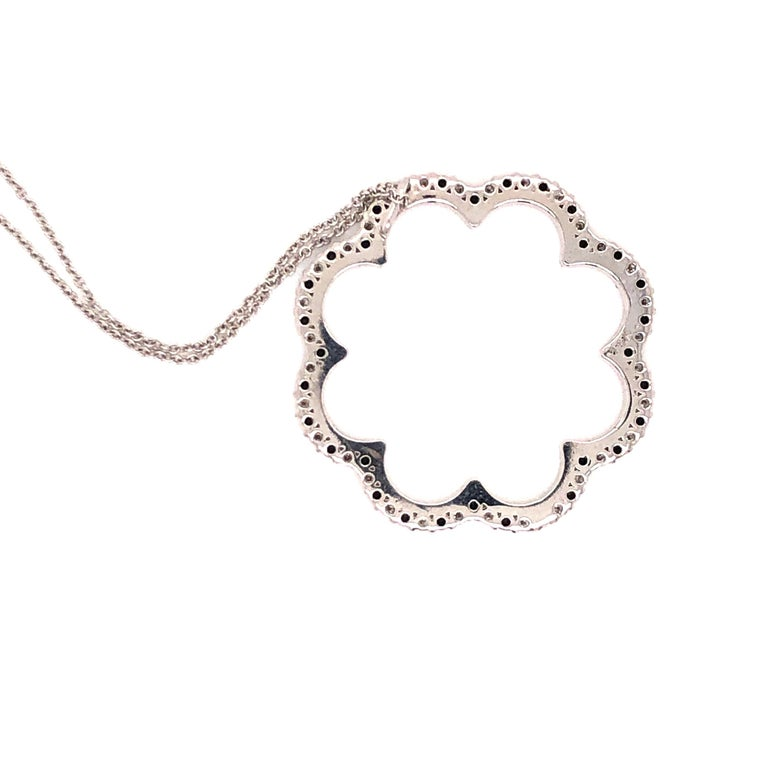 Black and White Diamond Flower Necklace For Sale 4