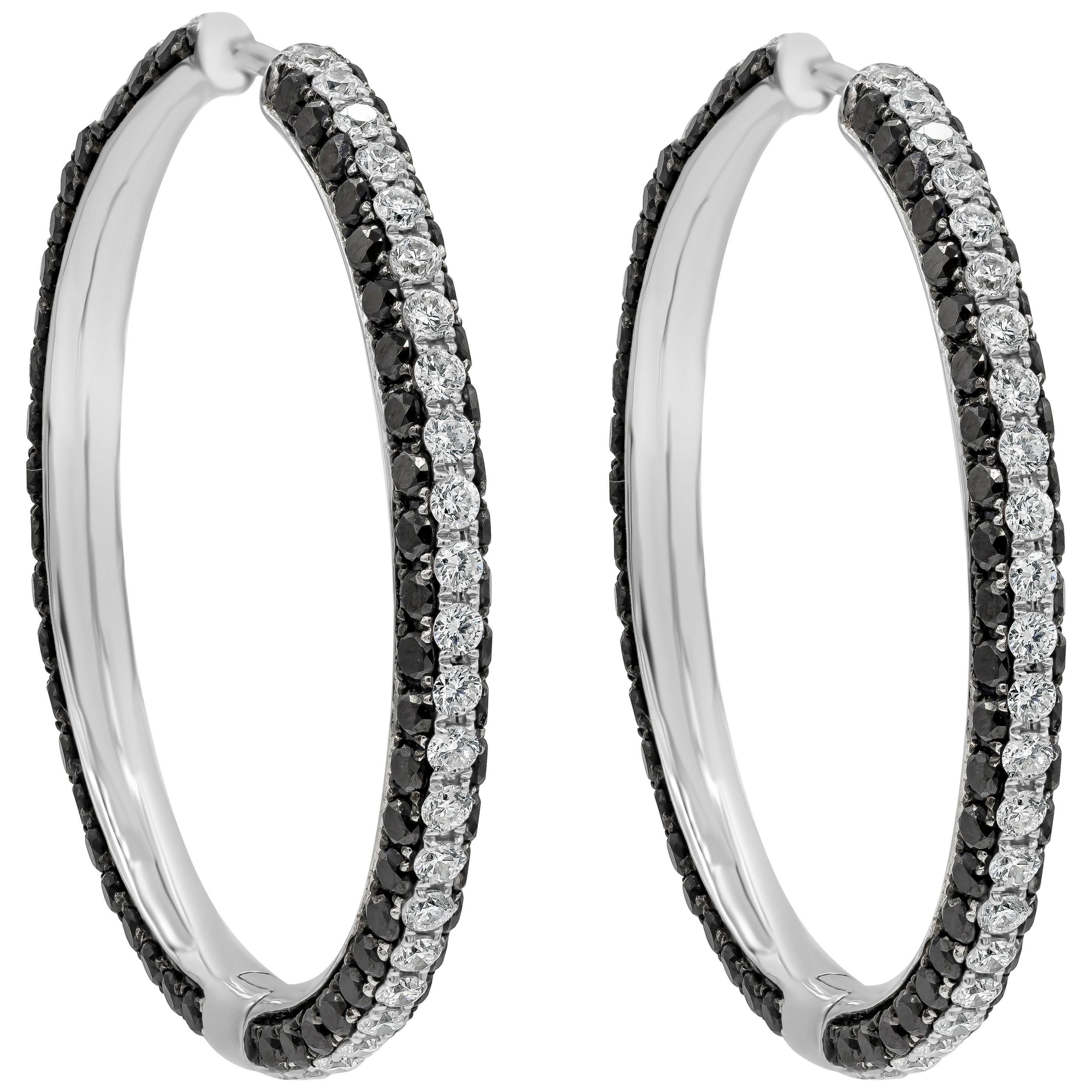 Black and White Diamond Micro-Pavé Hoop Earrings