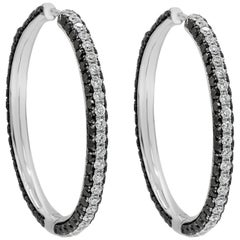 Black and White Diamond Micro-Pavé Hoop Earrings