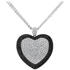 Black and White Diamond Pavé Heart Pendant Necklace