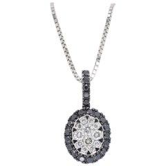 Black and White Diamond Pendant Necklace
