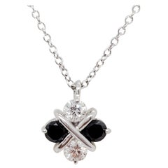 Black and White Diamond Pendant Necklace in 18k White Gold