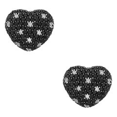 Black and White Diamond Puff Heart Earrings