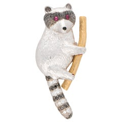 Black and White Diamond Raccoon Pin Brooch Set in 18k White and Rose Gold