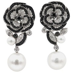 Black and White Diamond South Sea Pearl Floral Long 18 Karat White Gold Earrings