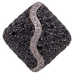 Black and White Diamond Square Modern Right Hand Ring 14 Karat White Gold