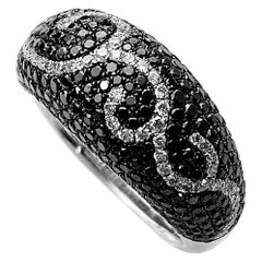 Black and White Diamond Swirl Ring in White Gold