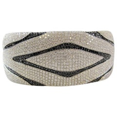 Black and White Diamond Zebra Wide Cuff Hinged Bangle Cuff Bracelet 13.00 Carat