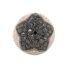 Black and White Diamonds 18 Karat White Gold Star Ring