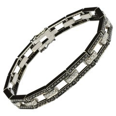 Black and White Diamonds Black Gold Bracelet Made in Italy