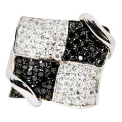 Black and White Diamonds in Chessboard Design in 18 Karat White Gold Ring