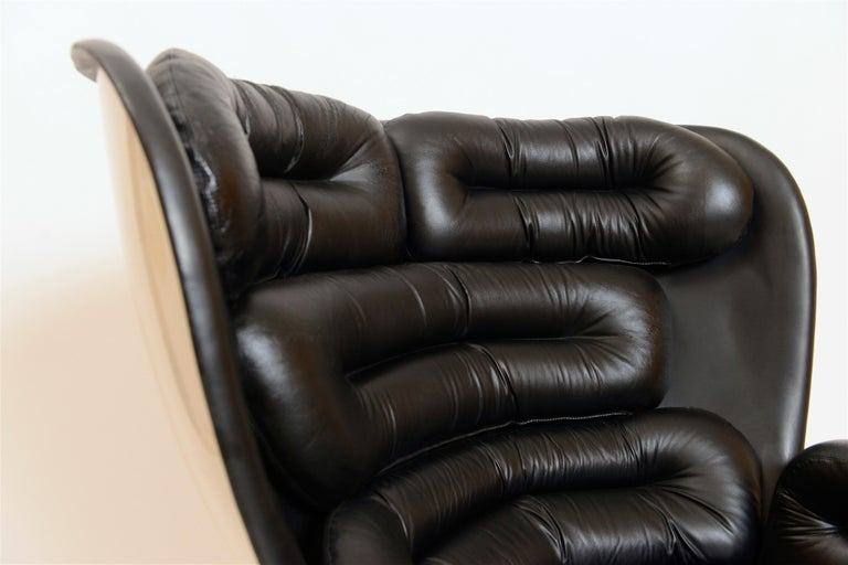 Mid-Century Modern Black and White 'Elda' Chair by Joe Colombo, Italy, circa 1960 For Sale