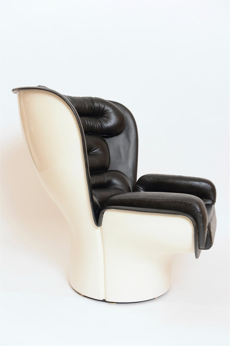 Mid-20th Century Black and White 'Elda' Chair by Joe Colombo, Italy, circa 1960 For Sale