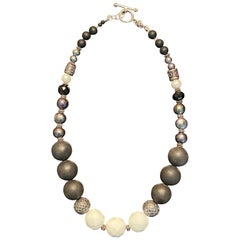 Black and White Fashion Necklace with Agate, Onyx, FWCP Pearls in Silver