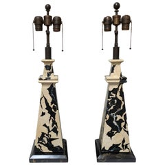 Black and White Faux Marbleized Table Lamps