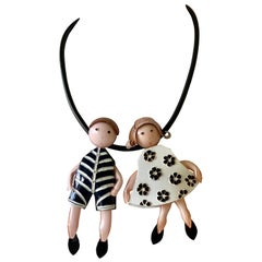 Black and White French Figural Statement Necklace