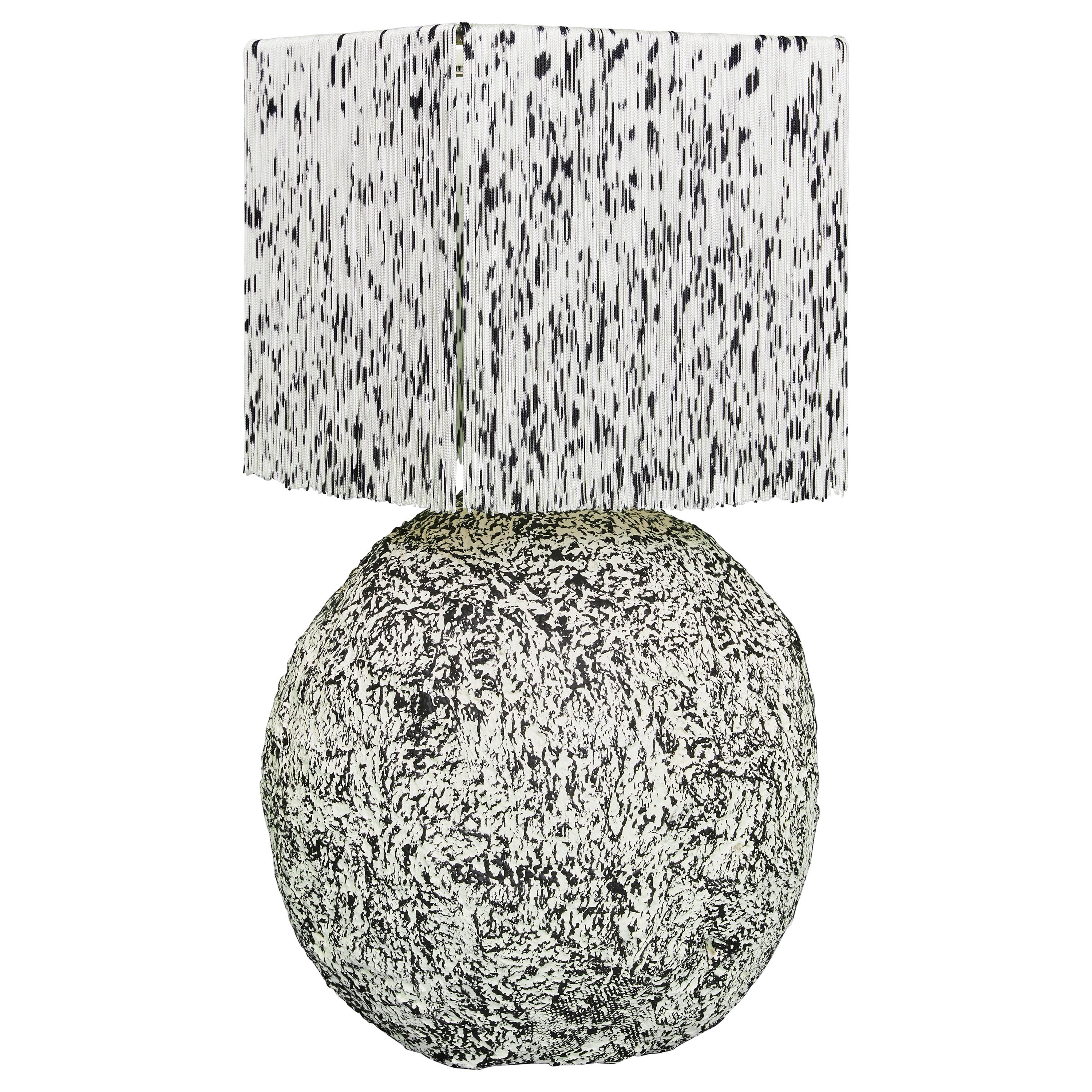 Black and White Fringed and Hand Knotted Papier-Maché Domo Table Lamp