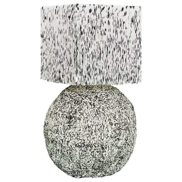 Black and White Fringed and Hand Knotted Papier-Maché Domo Table Lamp For Sale