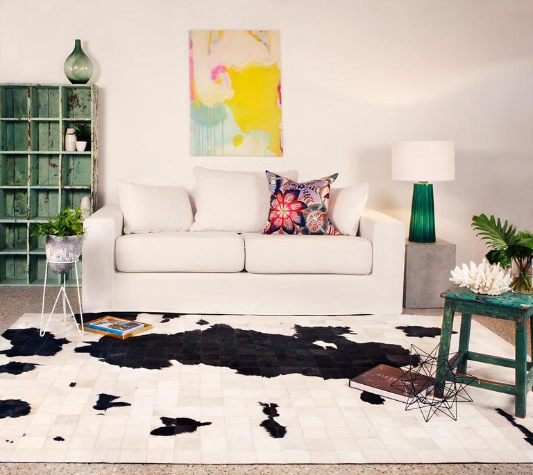 Art Deco Black and White Fun,New Scandi customizable Dalmata Cowhide Area Floor Rug Large For Sale