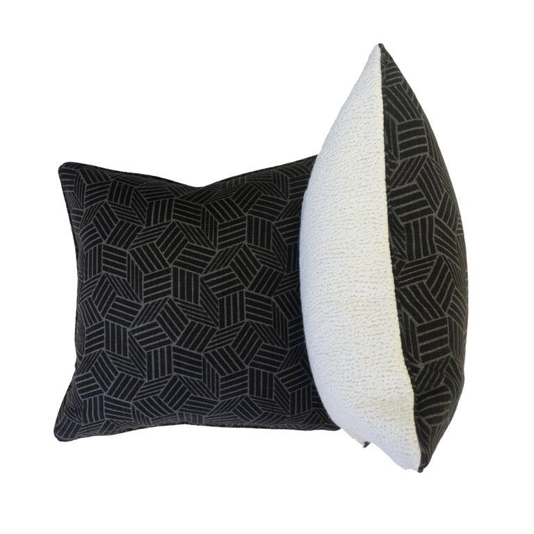 Modern Black and White Geometric Patterned Pillows For Sale