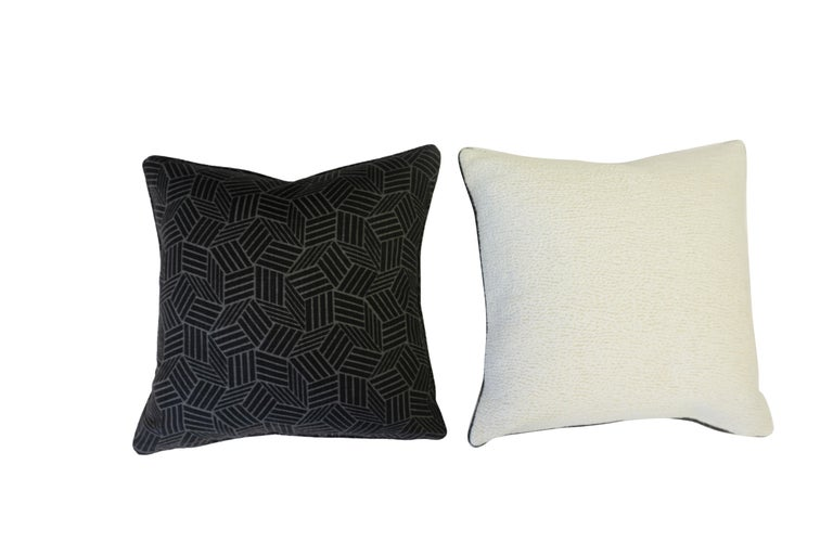 American Black and White Geometric Patterned Pillows For Sale