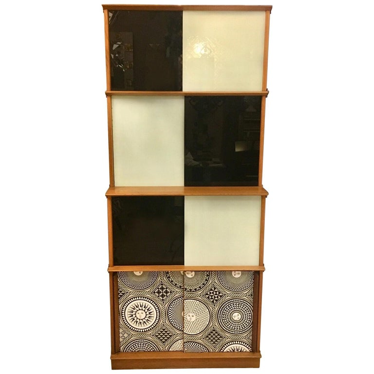 White Cabinets With Black Glazing: Black And White Glass Doors Cabinet, Fornasetti Fabric In