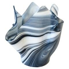 Black and White Handkerchief Art Glass Vase in the Style of Venini