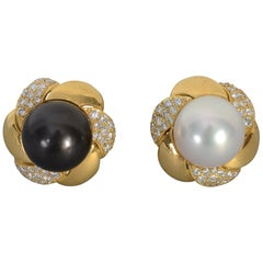 Black and White Huge Pearl Earrings with Diamonds