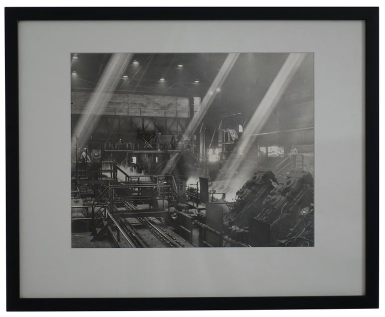 Black and white photograph of an Industrial steel mill scene. American, early to mid-20th century. Written on the back is Louis Creveling, California. Professionally matted and framed.