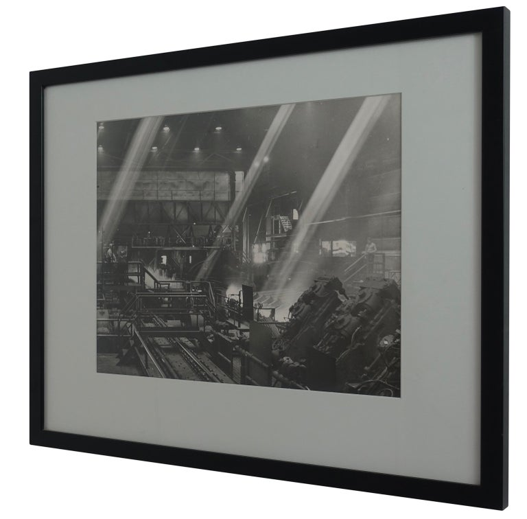 Mid-Century Modern Black and White Industrial Factory Scene Photograph, American, 20th Century For Sale