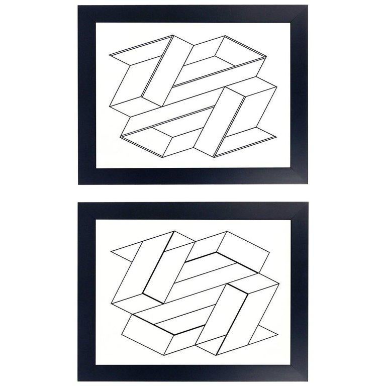 American Black and White Lithographs by Josef Albers from Formulation and Articulation For Sale
