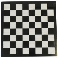 Black and White Marble Chess or Checkers Game Board