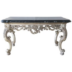 Black and White Marble Console or Sofa Table in the Louise XVI Style