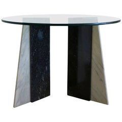 Black and White Marble Table Bases with Round Glass Top