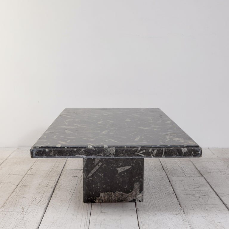 North American Black and White Modernist Marble Cocktail Table
