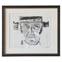 """Black and White Monotype by Cyril Kuhn Titled """"Once upon a time in the West"""""""