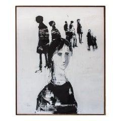 Black and White Oil on Canvas Painting by G.Hollander, 1974