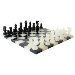 Black and White Onyx and Acrylic Chess and Tic-Tac-Toe Set