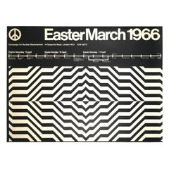 Black and White Op Art 1966 Nuclear Disarmament March Poster from London